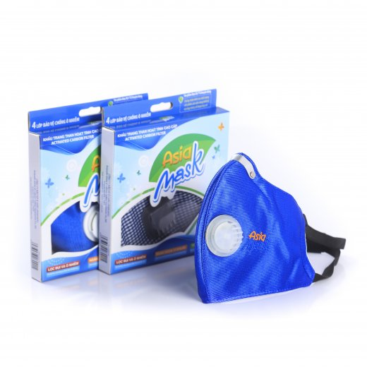 Khẩu trang than hoạt tính Asia Mask có van thoát không khí ( xé dán sau gáy)